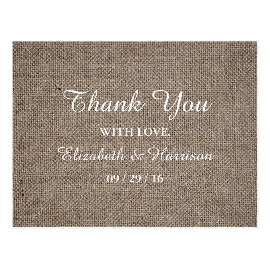 Rustic Burlap Wedding Thank You Postcard