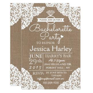 Rustic Burlap & White Lace Bachelorette Party 13 Cm X 18 Cm Invitation Card