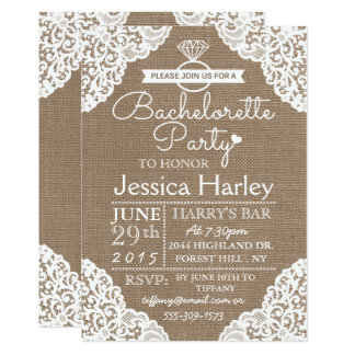 Rustic Burlap & White Lace Bachelorette Party Card