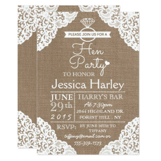 Rustic Burlap & White Lace Hen Party Card