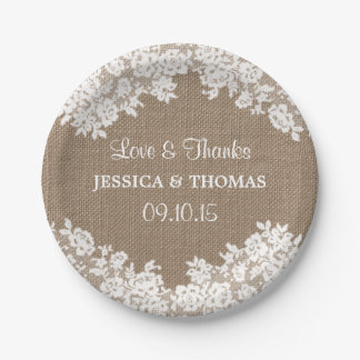 Rustic Burlap & White Lace Wedding Paper Plates 7 Inch Paper Plate