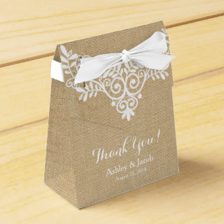 Rustic Burlap White Lace Wedding Thank You Favour Box