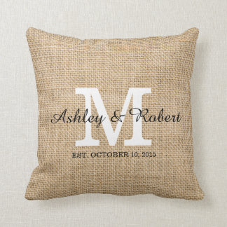 Rustic Burlap White Monogram Wedding Keepsake Cushion