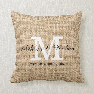 Rustic Burlap White Monogram Wedding Keepsake Throw Pillow