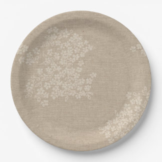 Rustic Burlap With Antique Flower Paper Plate