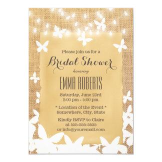 Rustic Butterflies Burlap Bridal Shower Card
