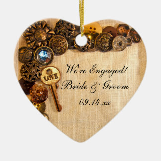 Rustic Buttons Engagement Christmas Ornament