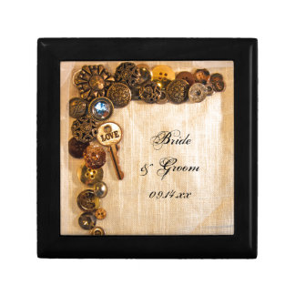 Rustic Buttons Wedding Gift Box