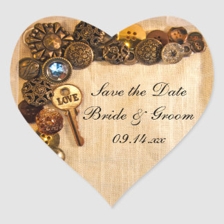 Rustic Buttons Wedding Save the Date Sticker