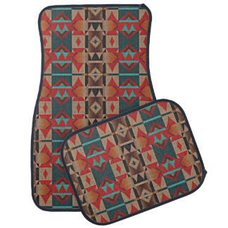 Rustic Cabin American Native Indian Mosaic Pattern Car Mat