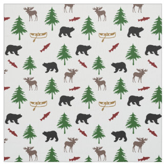 Rustic Cabin Moose and Bear Fabric