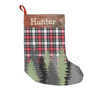 Rustic Cabin Woods Forest Plaid Custom Name Small Christmas Stocking