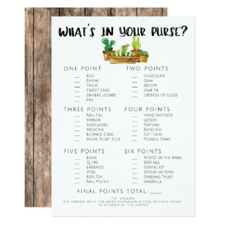 Rustic Cactus Bridal Shower Game-Purse Card