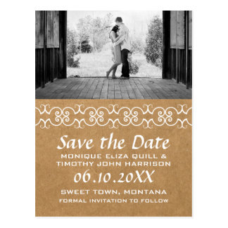 Rustic Calligraphic Faux Paper Save the Date Postcard