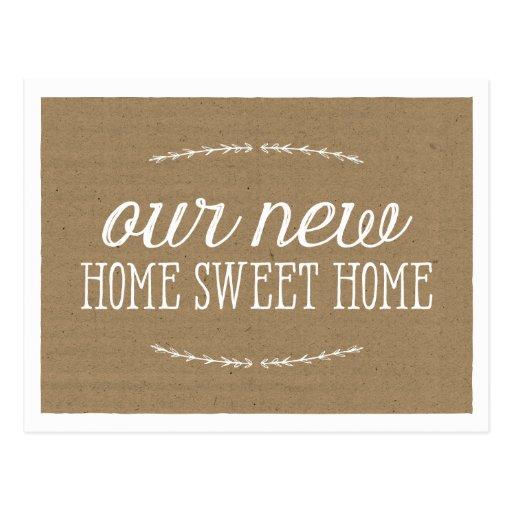 Rustic calligraphy new home postcard zazzle