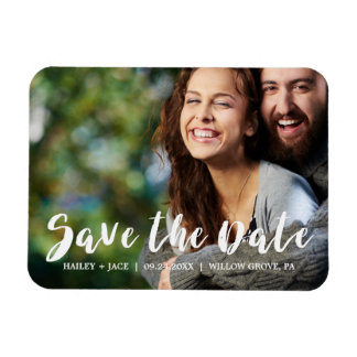 Rustic Calligraphy Overlay Save the Date Photo Rectangular Photo Magnet