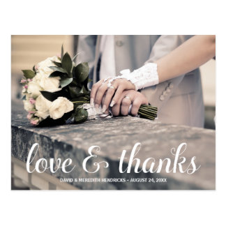 Rustic Calligraphy   Photo Thank You Postcards