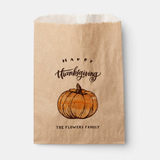 Rustic Calligraphy Thanksgiving Leftover Bags