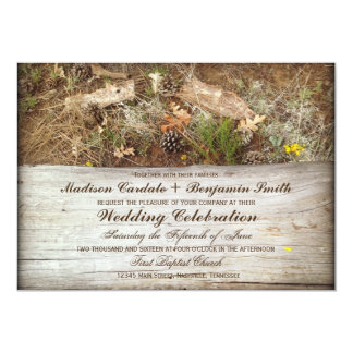 Rustic Camo and Wood Country Wedding Invitations