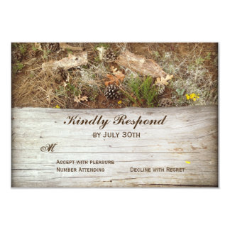 Rustic Camo and Wood Country Wedding RSVP Cards