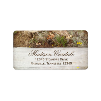 Rustic Camo and Wood Return Address Label