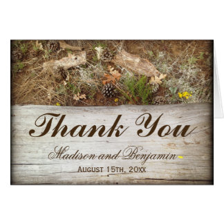Rustic Camo and Wood Wedding Thank You Card