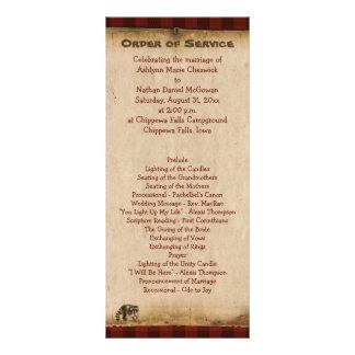 Rustic Camping Glamping Nature Wedding Program Custom Rack Cards