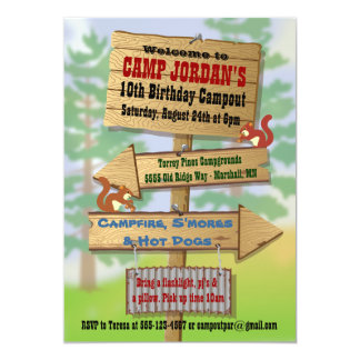 Rustic Camping Sleepover Party Invitations