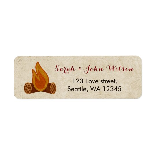 Rustic Camping Wedding address label