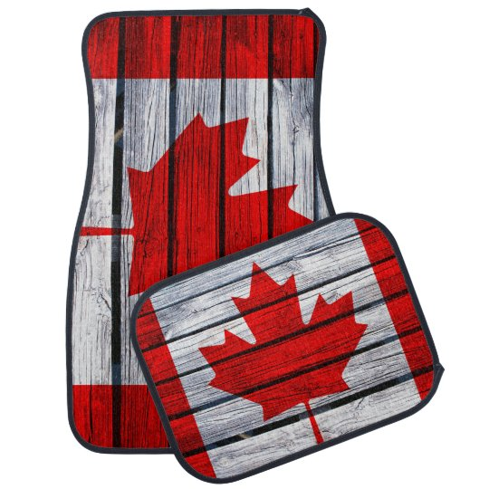Rustic Canadian Flag Car Mat