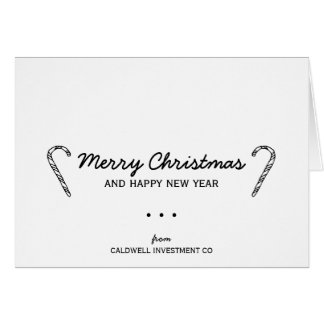 Rustic Candy Cane Corporate Holiday Card