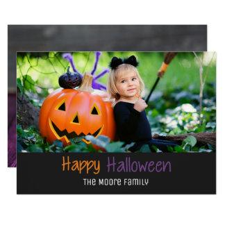 Rustic Candy Corn Pumpkin Halloween Photo Card