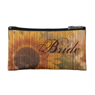 rustic cardboard country sunflower bride cosmetic bags