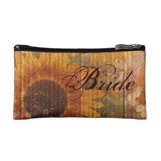 rustic cardboard country sunflower bride cosmetic bags