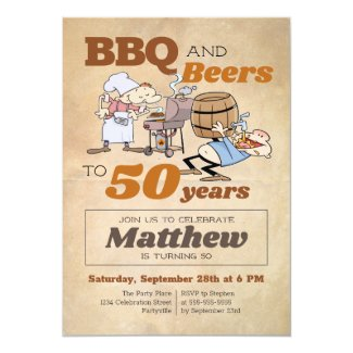 Rustic Cartoon BBQ And Beers 50th Birthday Invitation