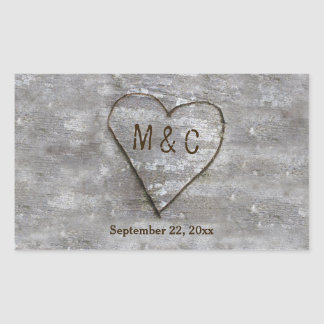 Rustic Carved Birch Heart Monogram Rectangular Sticker