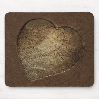 Rustic Carved Heart Oak Tree Slice Mouse Mat