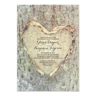 rustic carved heart tree vintage engagement party card