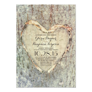 rustic carved heart tree vintage wedding 13 cm x 18 cm invitation card