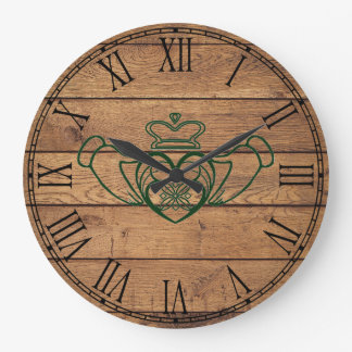 Rustic Celtic Claddagh Large Clock