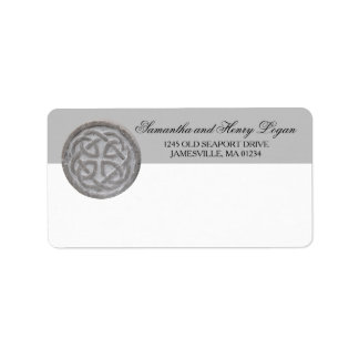Rustic Celtic Knot Mailing Label Gray and White
