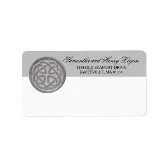 Rustic Celtic Knot Mailing Label Grey and White