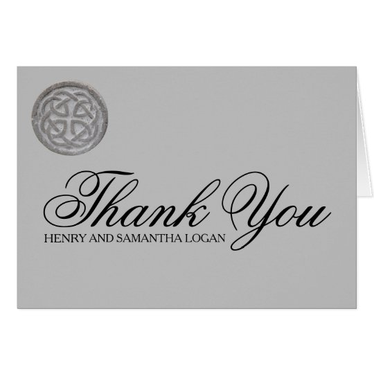 Rustic Celtic Knot Personalised Thank You Note Card