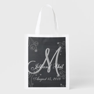 Rustic Chalkboard 3d Monogram Reusable Grocery Bag