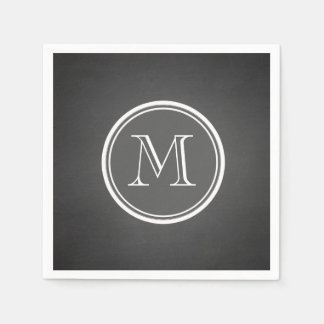 Rustic Chalkboard Background Monogram Disposable Serviette