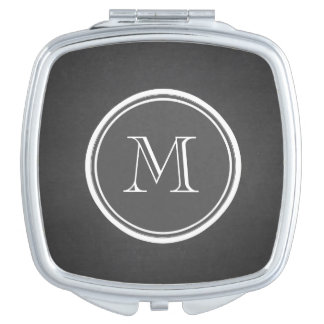 Rustic Chalkboard Background Monogram Mirror For Makeup