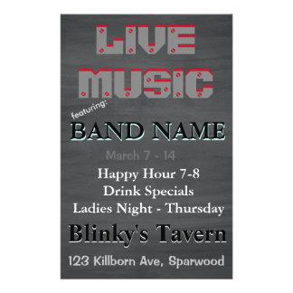 Rustic Chalkboard Bar Tavern Live Music 2 14 Cm X 21.5 Cm Flyer
