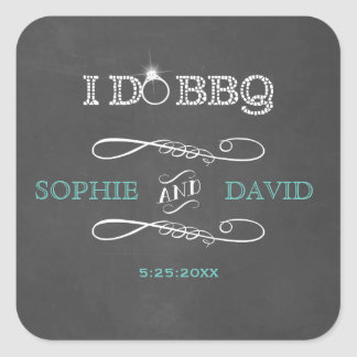 Rustic Chalkboard Burlap I DO BBQ Engagement Party Square Sticker