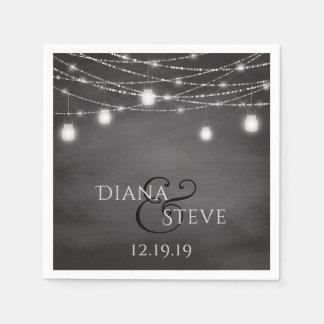 Rustic Chalkboard Country Mason Jar Wedding Paper Napkin