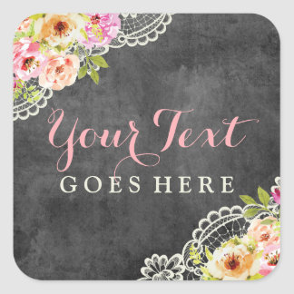 Rustic Chalkboard Farmhouse Roses Lace Shabby Chic Square Sticker